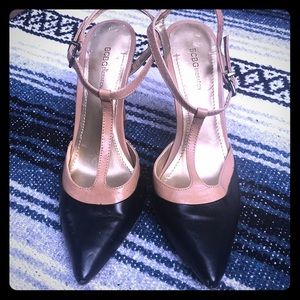 BCBGirls ankle strap heels black/tan sz 6.5